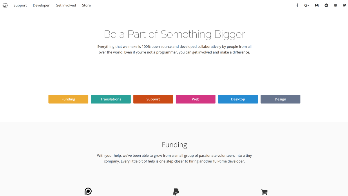 A snapshot of the redesigned Get Involved page