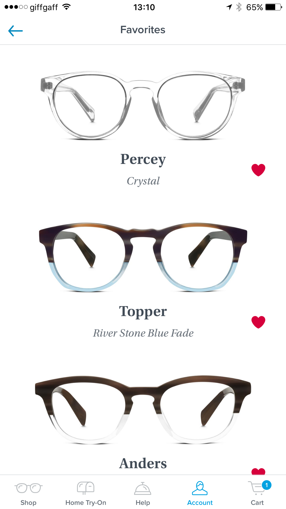 e34908105d ABOVE  Example of a list of favourite frames in Warby Parker s iPhone app.