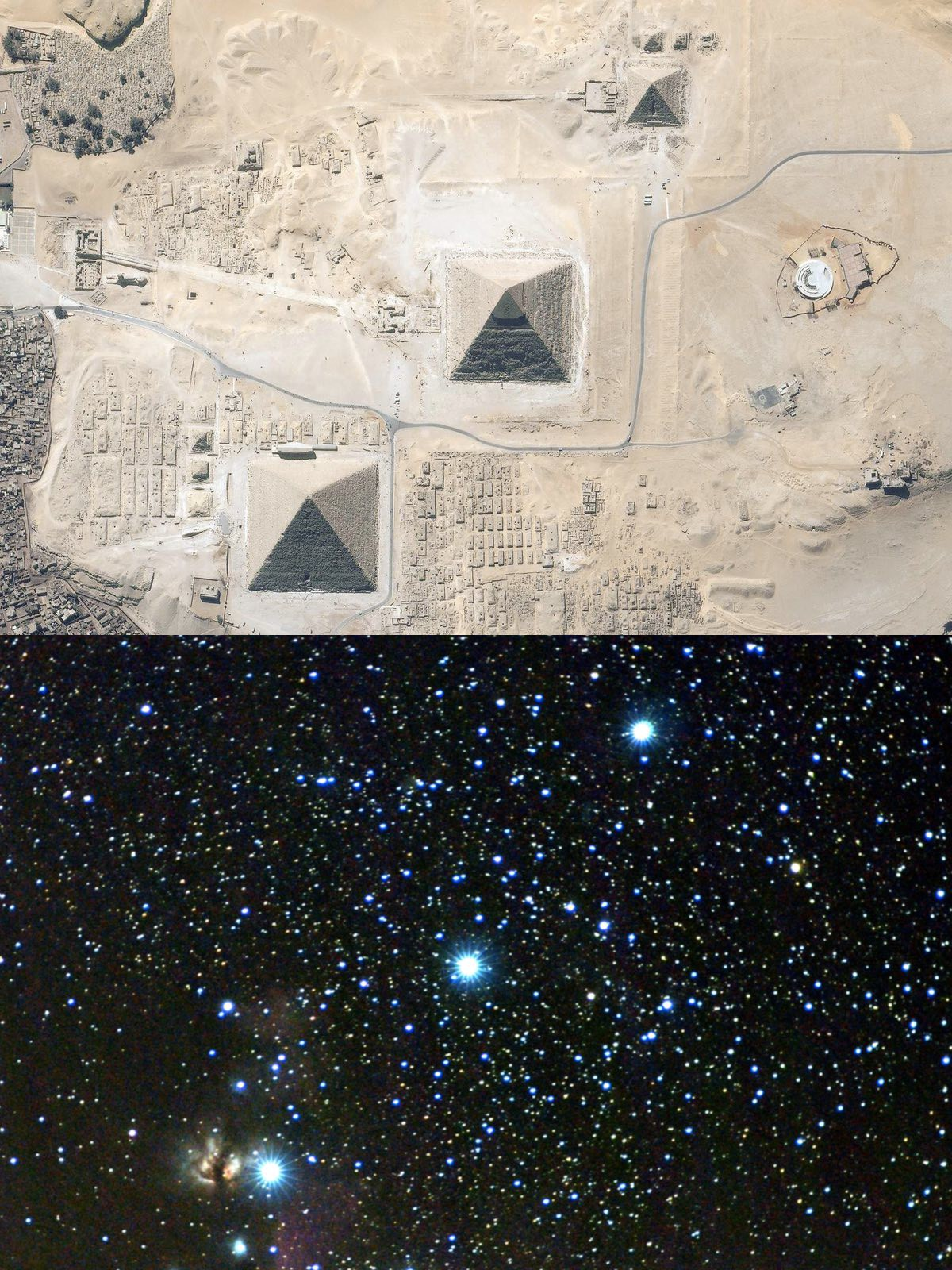 The 3 Pyramids of Giza match almost exactly the 3 stars of Orions Belt.