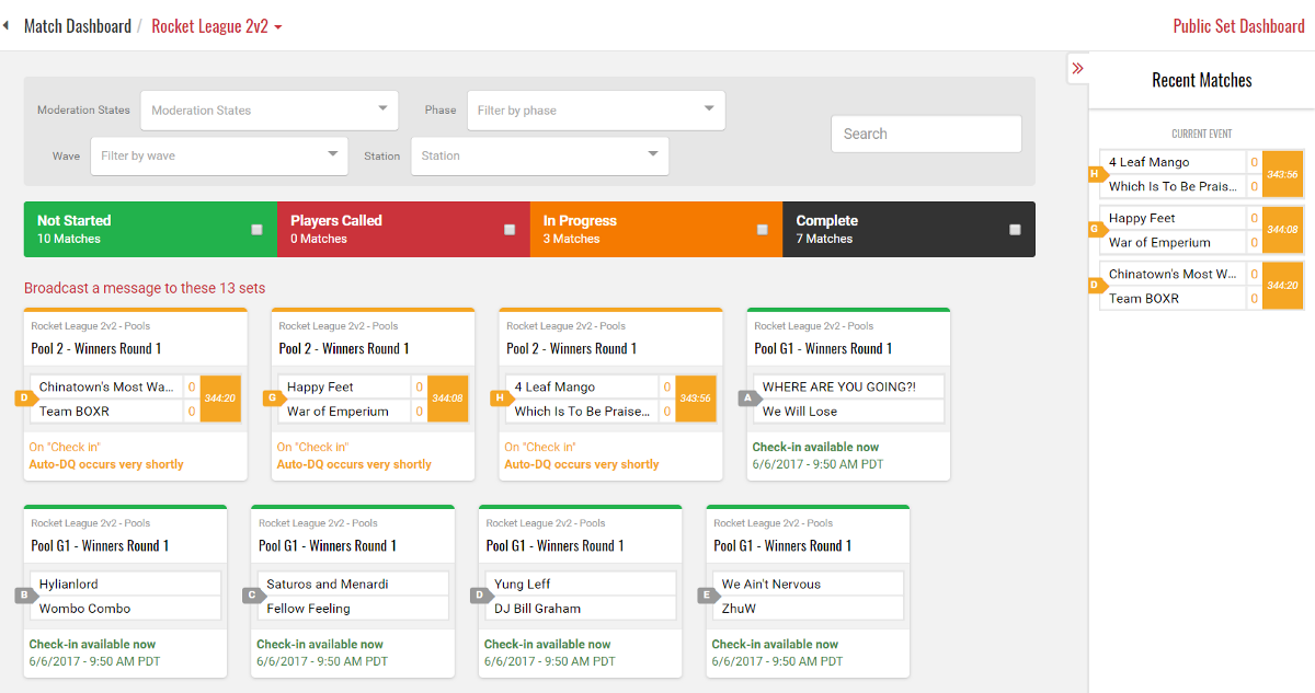 Managing online tournaments is easy using smashs match dashboard sciox Gallery