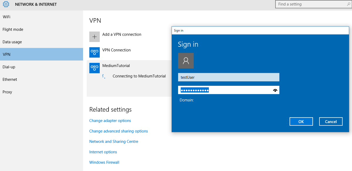 VPN login dialog - Windows
