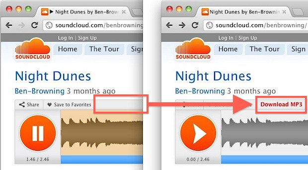 Download any song from soundcloud with soundcloud super +2 user script.