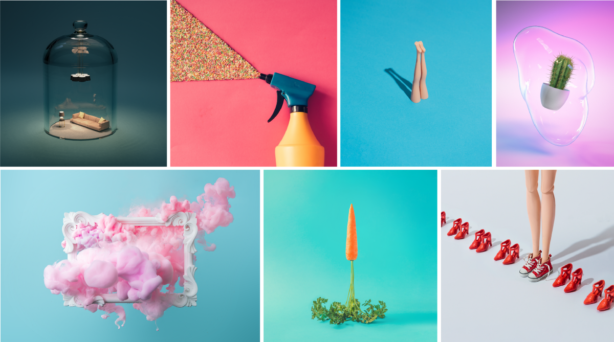 Abstract, colorful and humorous stock photos from Zamurovic Brothers that can be used as social media marketing pictures.