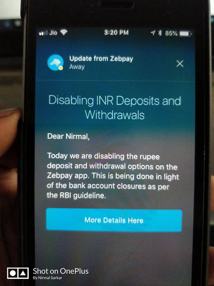 Bitcoin Exchange ZEBPAY STOPS DEPOSITS AND WITHDRAWALS wef
