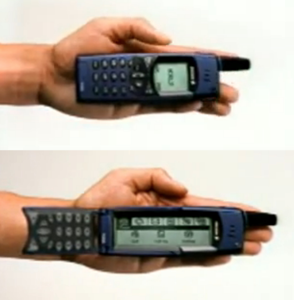Stills from a commercial for the 2000 Sony Ericsson R380, with both physical keyboard and touchscreen. (Photo credit: Sony Ericsson).