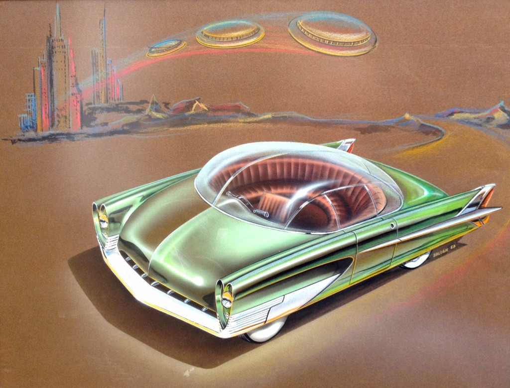 A car concept wearing its UFO-inspired design on its sleeve with a bubble dome and semi-circular seating. Charles Balogh, Ford Advanced Styling Studio, 1953.