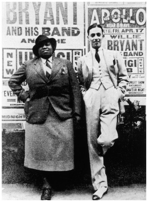 Left: Gladys Bentley with bandleader Willie Bryant, 1936.  (Queermusicheritage.com) Left: A post card promoting Bentley, 1937.  (Queermusicheritage.com)