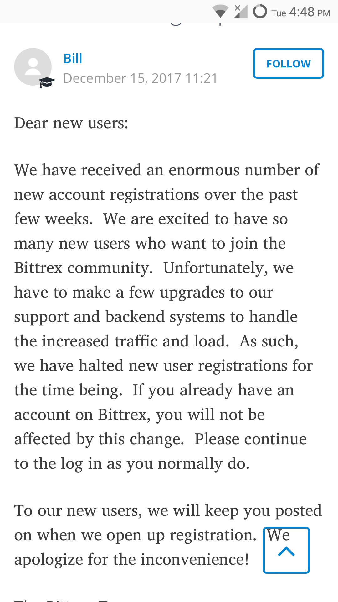 I tried to sign up for bittrex, but it looks like they're
