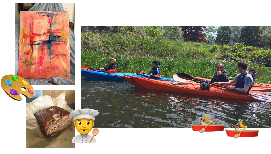Amiqus colleagues kayaking and banana bread