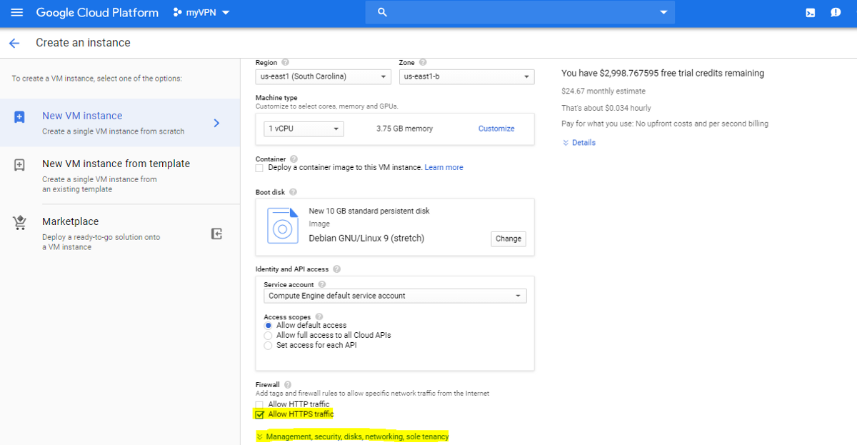google cloud platform - compute engine vm settings