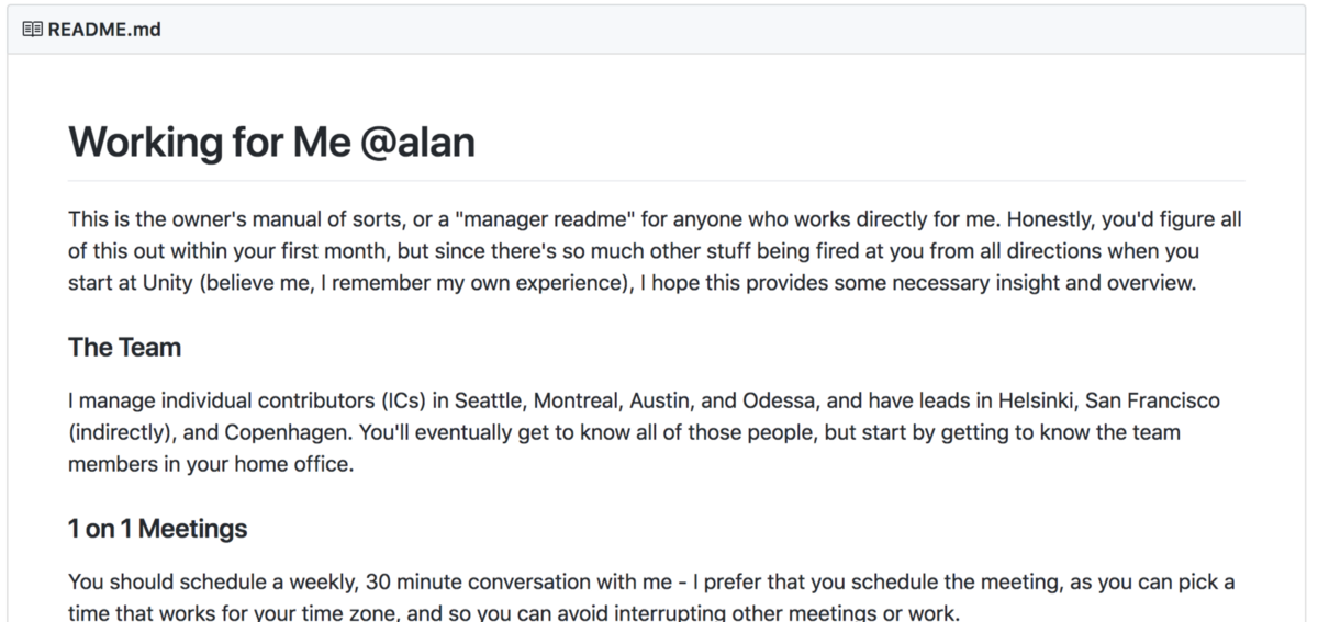 Manager README of Alan Page, Director at Unity