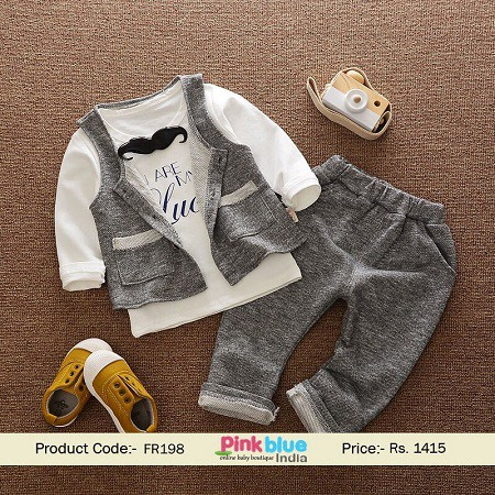 Stylish Boys Mustache Birthday Party Outfit With A T Shirt And Waistcoat Matching Vest Trouser To Complement The Look This Toddler Formal