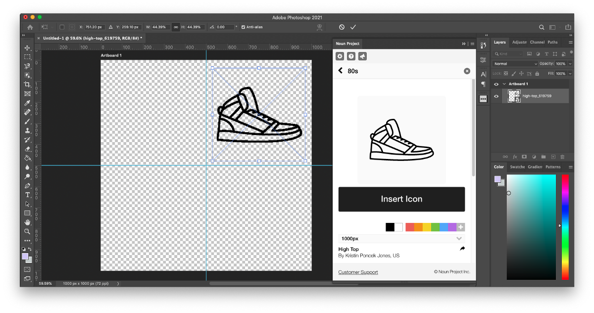 """Step 4 of how to make pattern in Photoshop: Search icons in the Noun Project add-on and click """"insert"""" to add them to your artboard. Having a Noun Pro account also allows you to customize each icon by recoloring it or adjusting its size, rotation, and background color."""