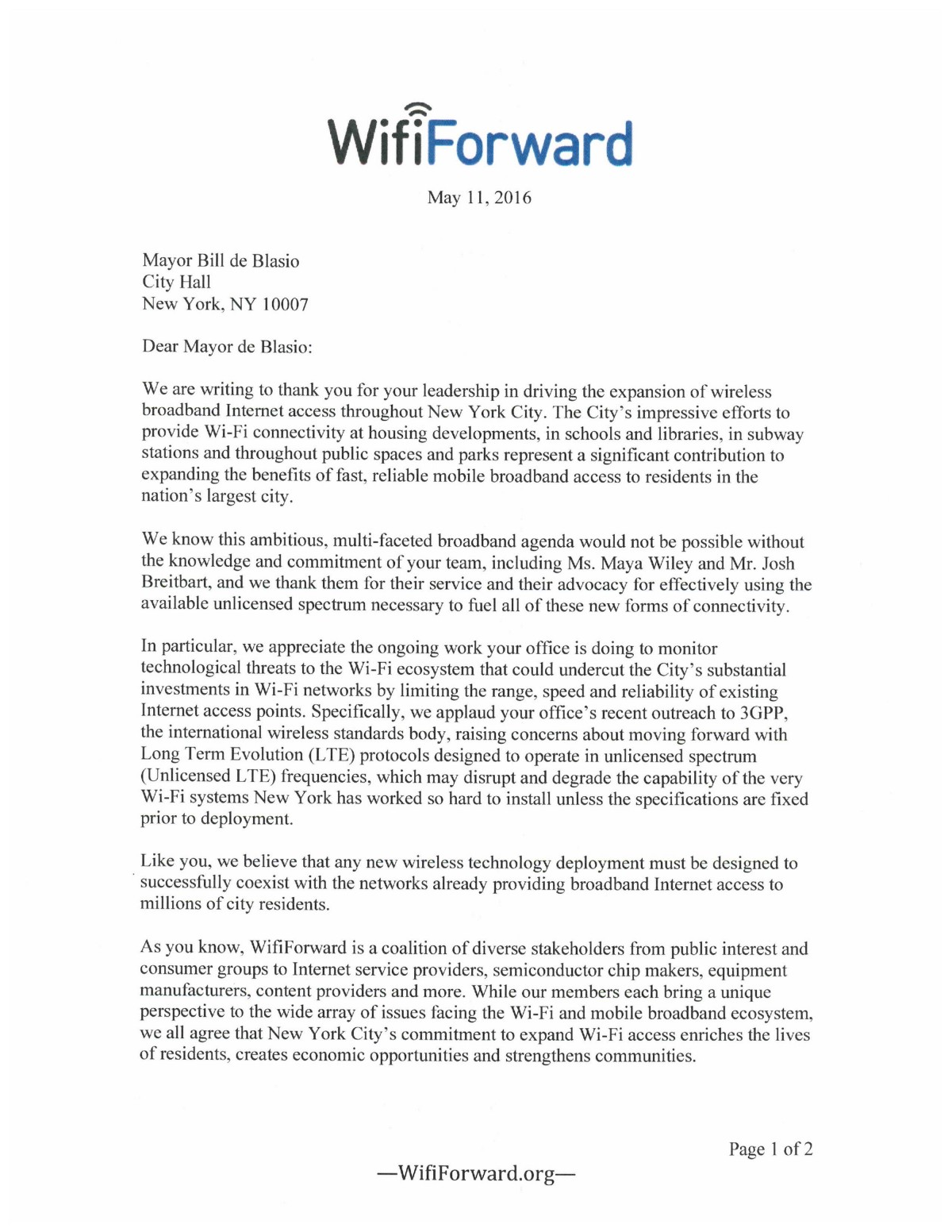 Wififorward Letter To New York City Mayor Bill Deblasio