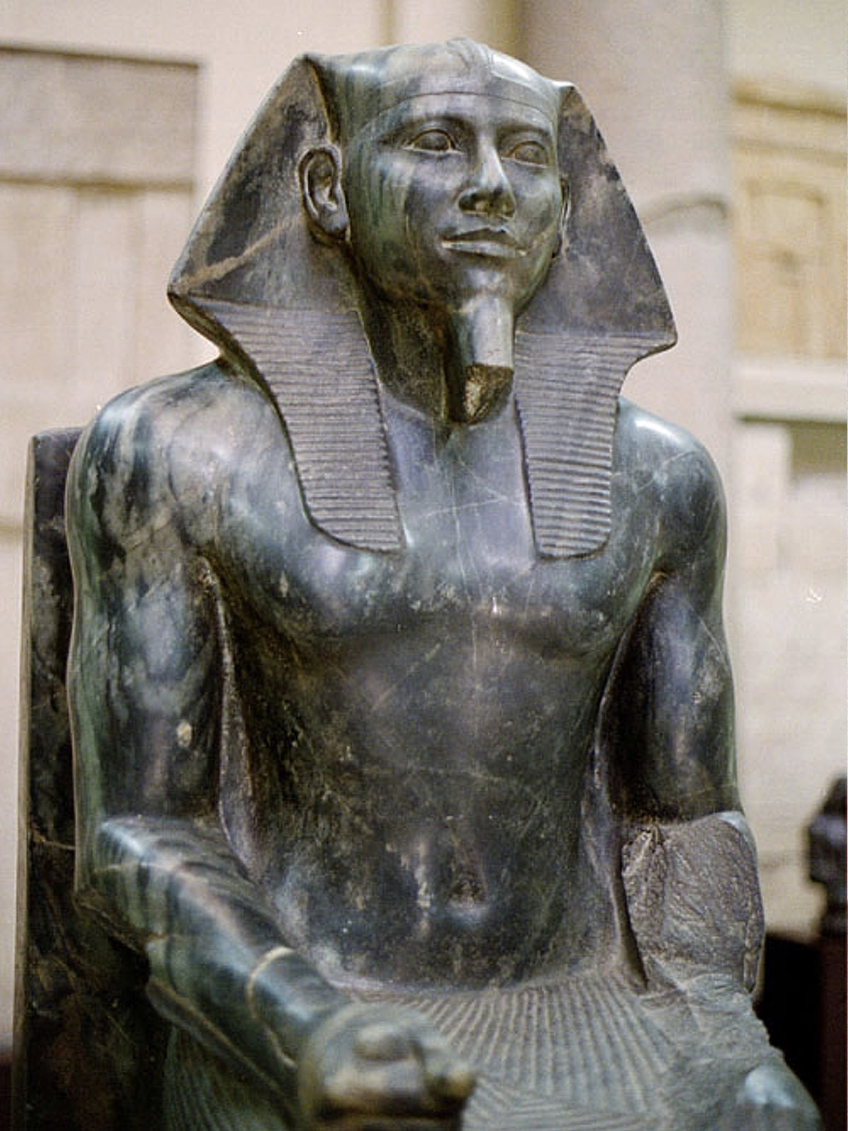 A statue of the pharaoh Khafre in the Cairo Museum (credit: Jon Bodsworth)