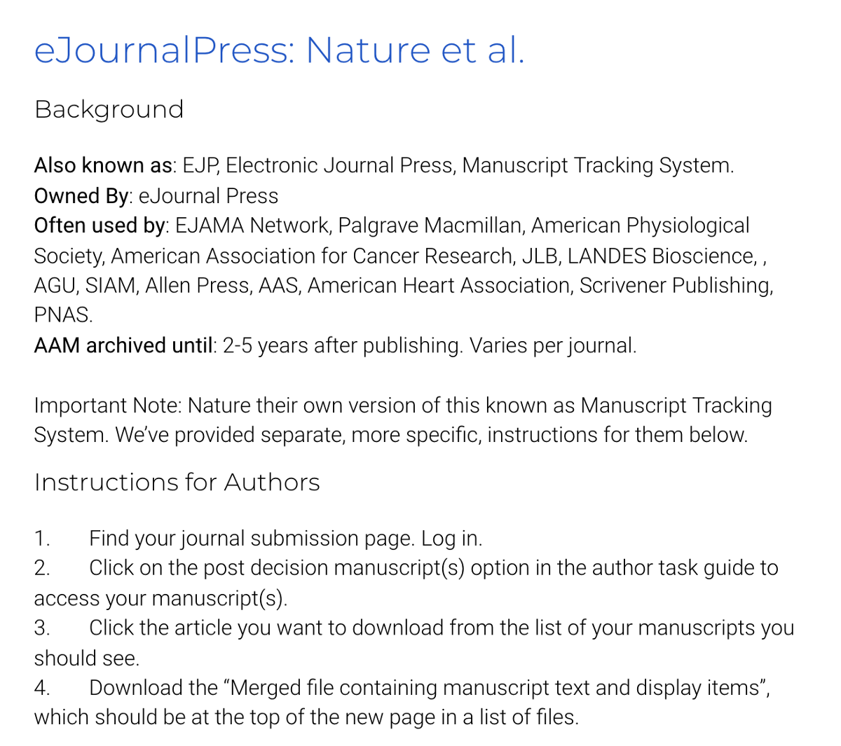 An Example Of The Instructions Given From EJournalPress A Widely Used Journal Submission System