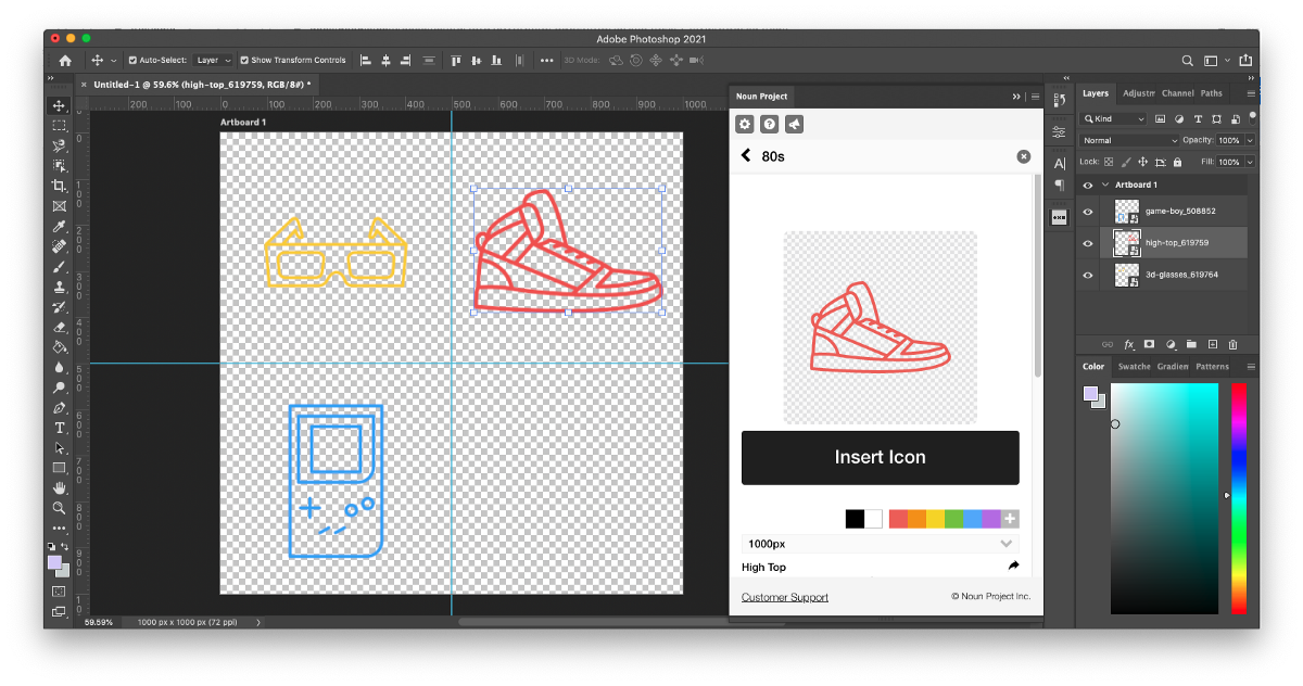 """Steps 5 and 6 to make a pattern in Photoshop: Insert multiple Noun Project icons and recolor each one if desired. Space them out evenly in each corner of the artboard. Browse """"more icons by this creator"""" to select icons from the same collections for visual consistency."""