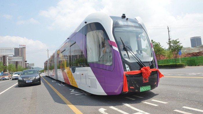 World's first 'train' that runs on virtual rails starts test-run in Hunan