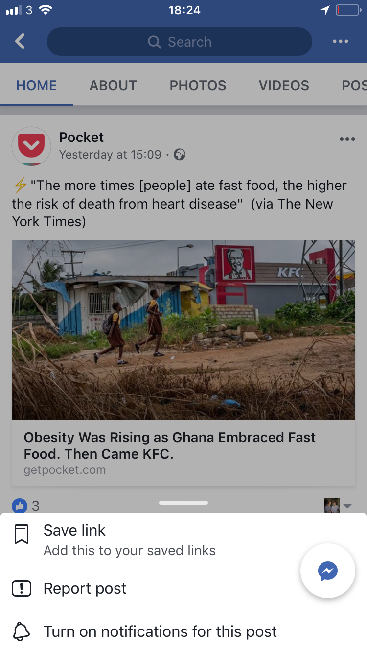 facebook save photo not working