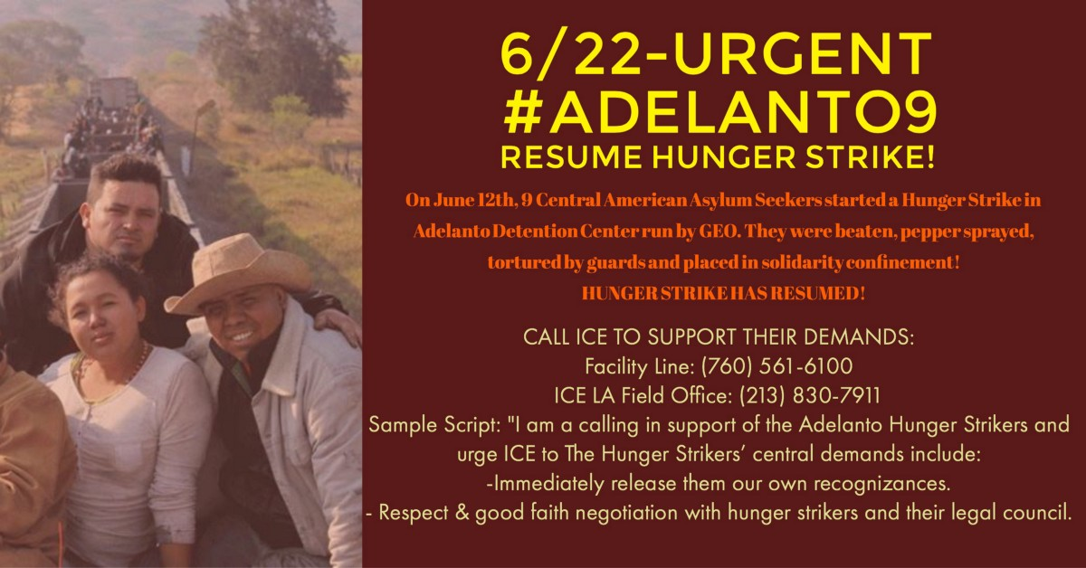 call to adelanto9 resume hunger strike imm