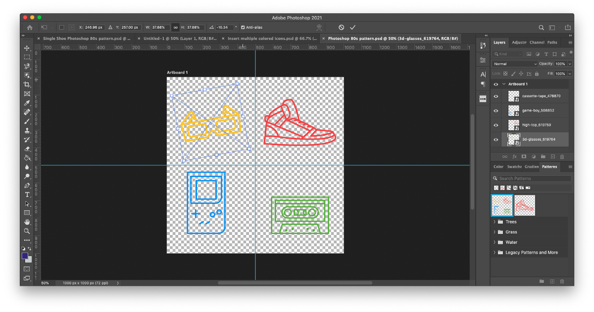 Step 7 of how to make pattern in Photoshop: Use the corners of each icon's bounding box to scale and rotate each icon proportionally to your desired effect. Scale all contents together to ensure consistency.