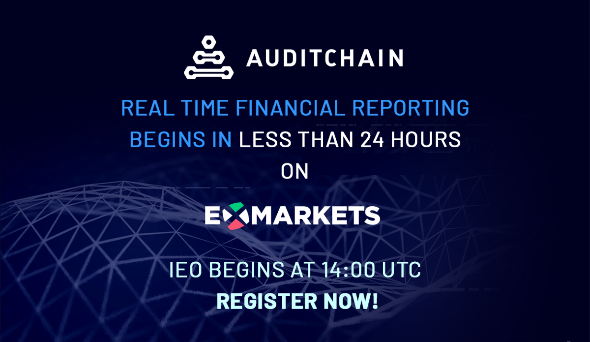 Auditchain IEO Starts on ExMarkets in Less Than 24 Hours