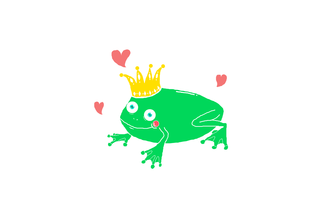 Cartoon image of a frog with a crown on its head and little hearts floating around