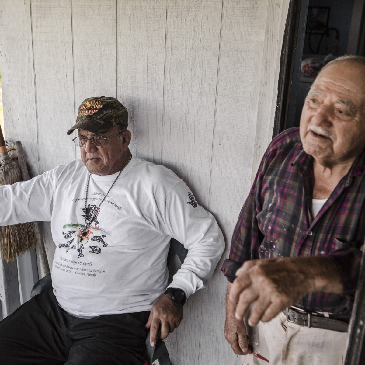 Albert Naquin, Chief of the Isle de Jean Charles Band of  Biloxi-Chitimatcha-Choctaw Indians, sits with Wayne Billiott, one of the  oldest remaining residents ...