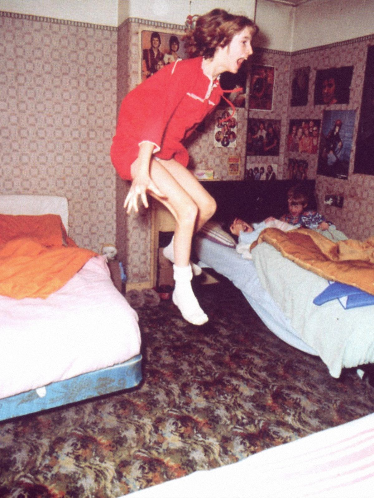 The famous photo of Janet flying off her bed