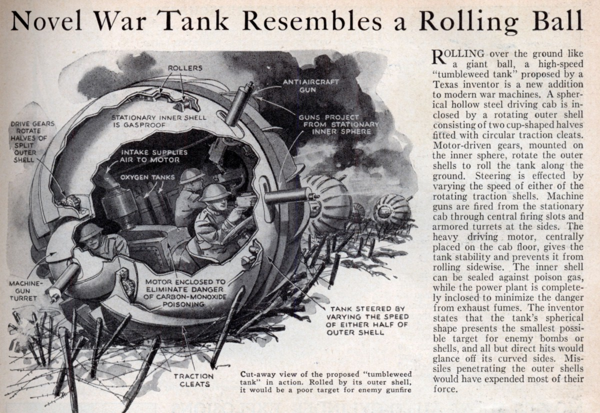 """Novel War Tank Resembles a Rolling Ball,"" The Tumbleweed Tank, Popular Science, 1936."