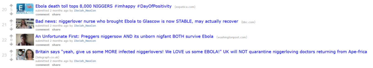 Four more examples of hate speech from the front page of r/ebola.