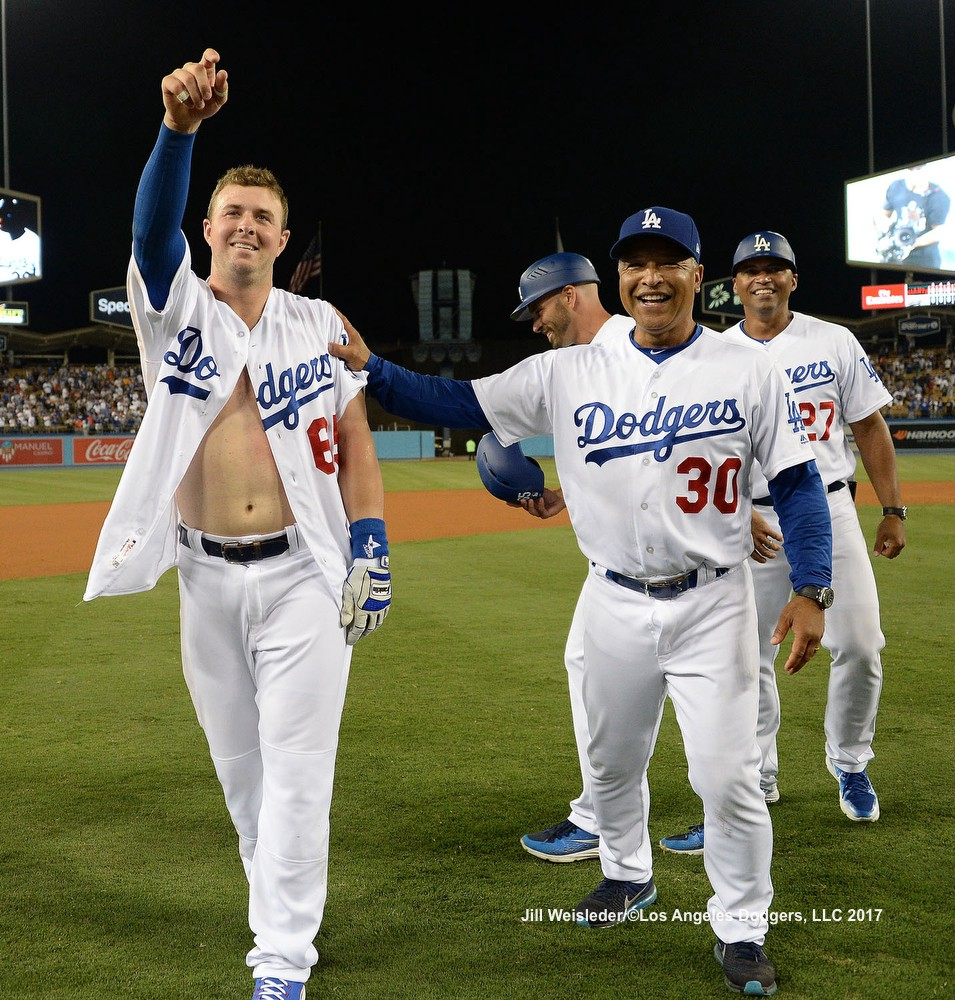 Dodgers celebrate Farmer s walk-off in first Major League at-bat bad928c3419
