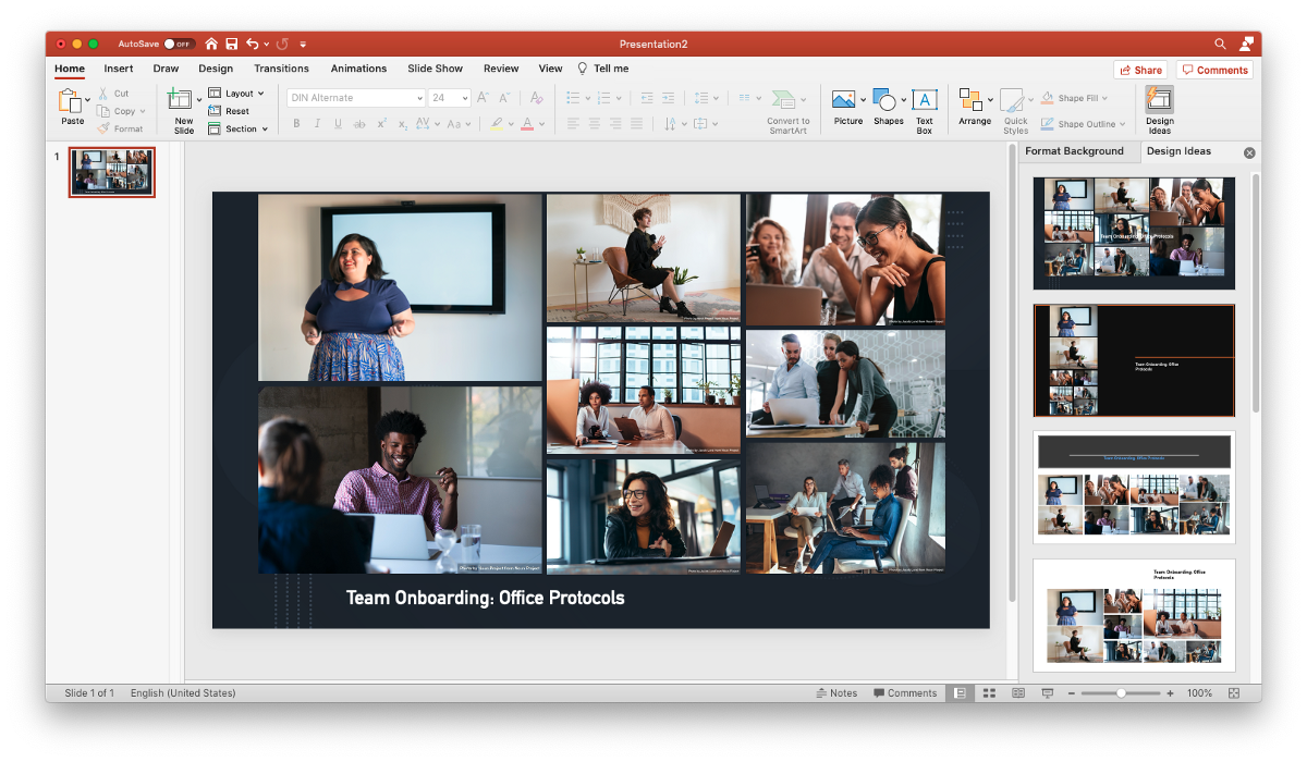 Using multiple stock photos on a single Powerpoint slide can quickly become visually messy—the Design Ideas column on the right will automatically generate tidier grid formats to fit your images into.