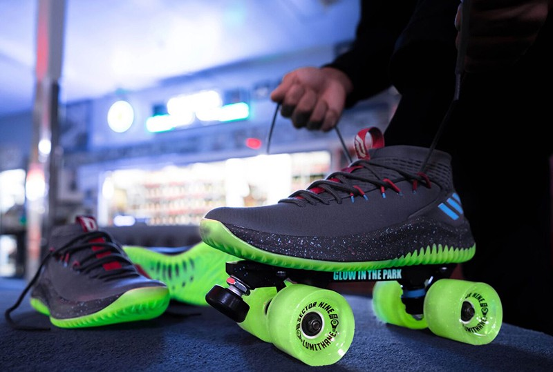 """the latest 129ee ff6c4 ... adidas to create a custom pair of skates that encompassed the overall  balanced feel of the Dame 4 """"Glow in the Park"""" shoe, and what basically  embodies ..."""