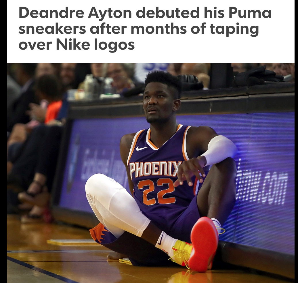 bc200b31248068 Deandre Ayton wore the Puma Clyde Court Disrupt sneakers versus Golden  State Warriors on Oct. 8