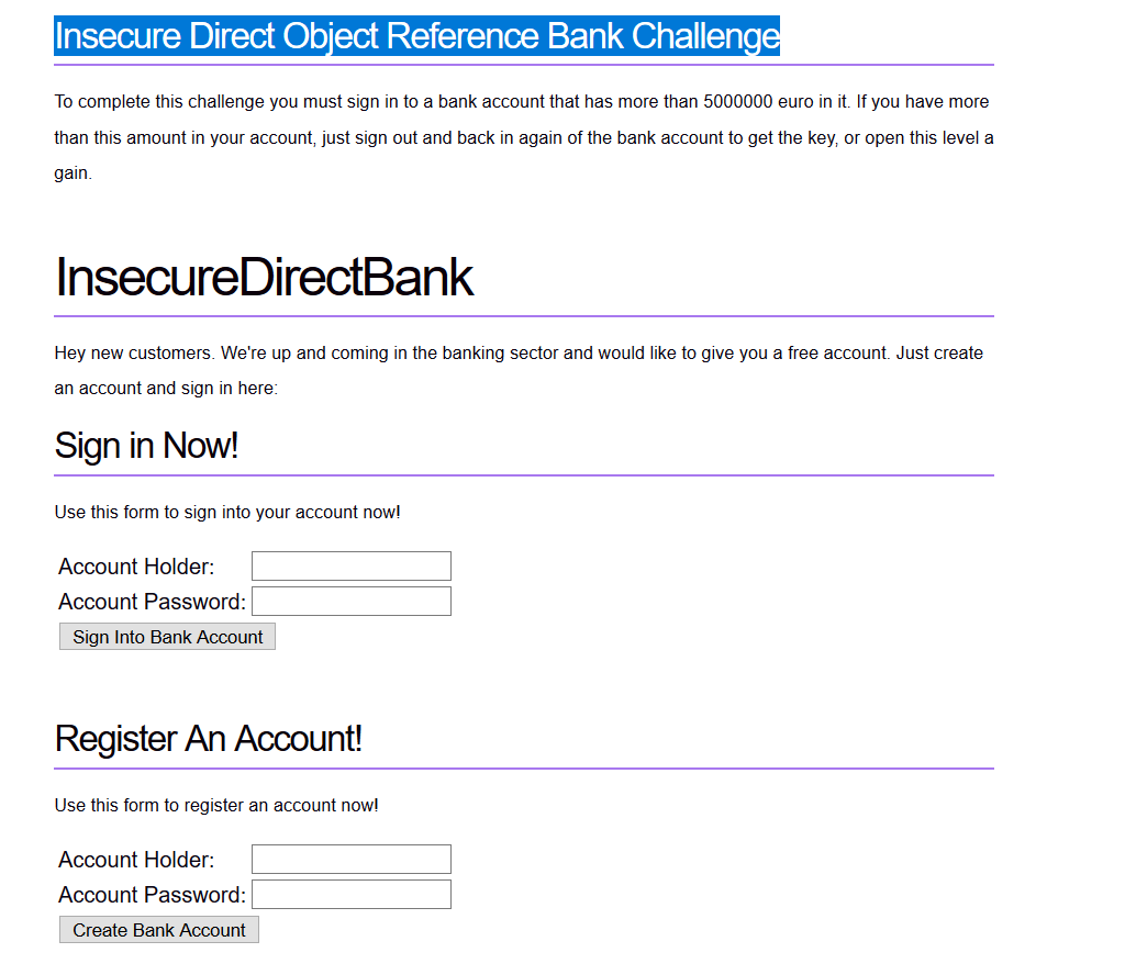 Insecure Direct Object Reference Bank Challenge
