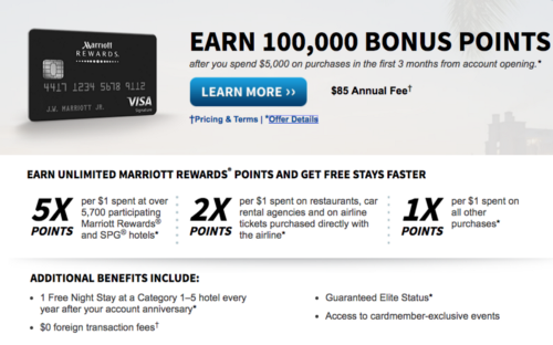 Card Of The Month Chase Marriott With 100k Sign Up Bonus April 2017
