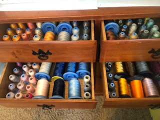 Put your threads in a draw where you can see every color to help Organize Your Machine Embroidery Thread