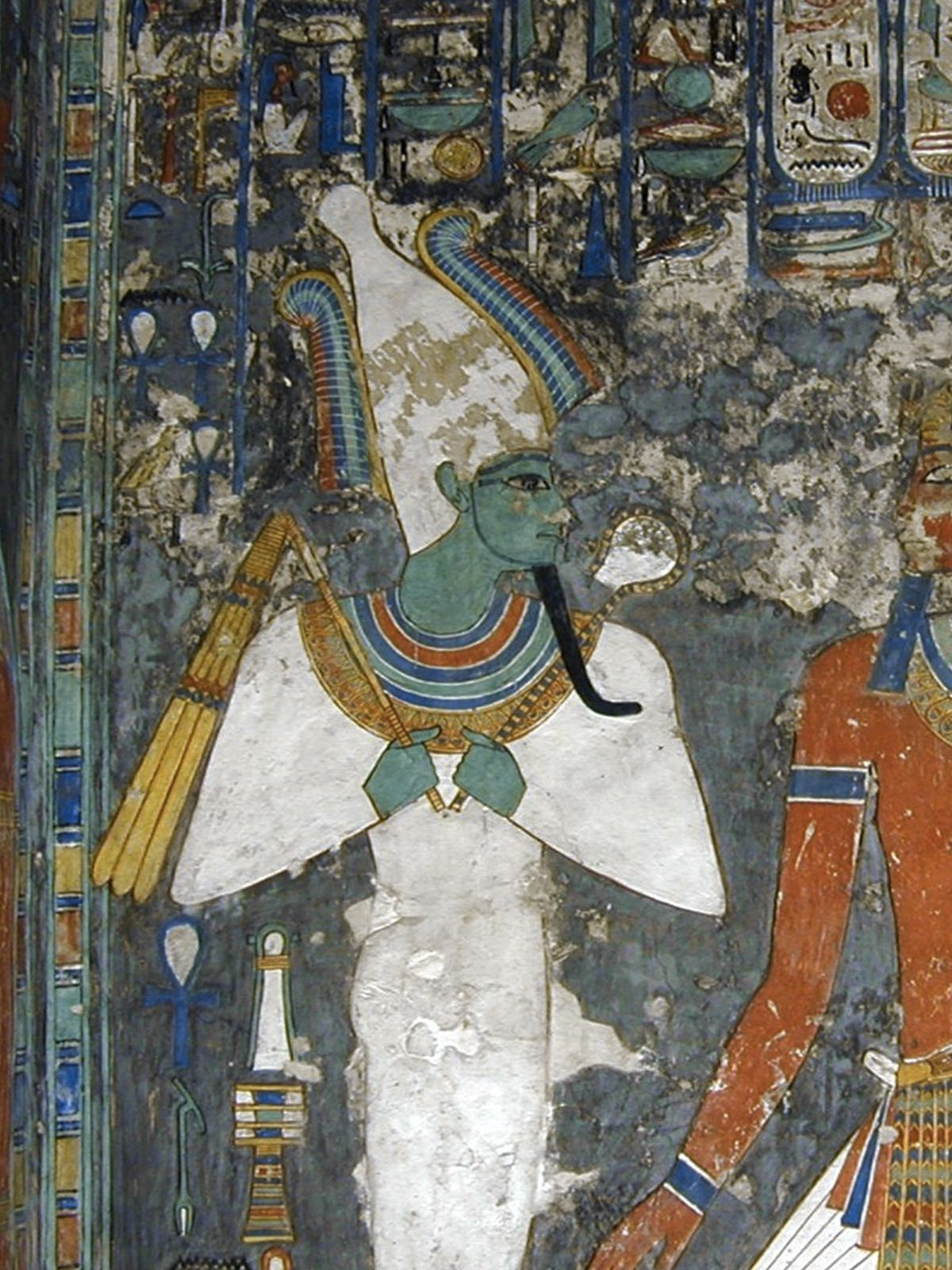 Osiris was usually depicted with green skin (credit: dalbera/wiki)