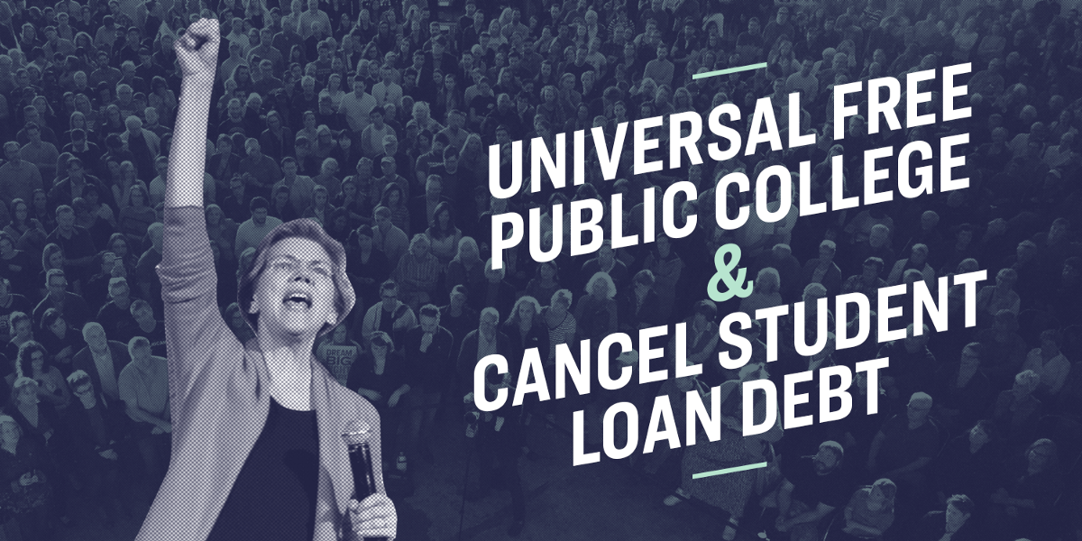 I'm calling for something truly transformational: Universal free public college and cancellation…