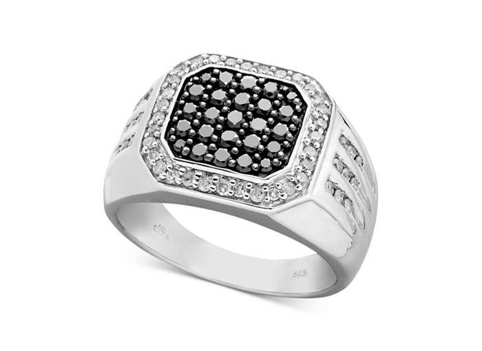 da4b9d863 quare off on signature style. This shapely men's ring features a square-cut  design adorned by round-cut black diamonds (5/8 ct.