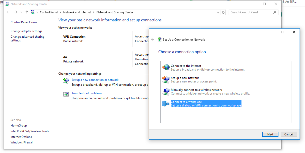 Windows 10 - Create a new network connection