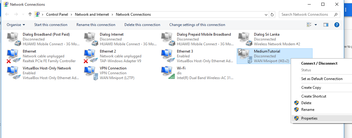 Windows new vpn connection properties