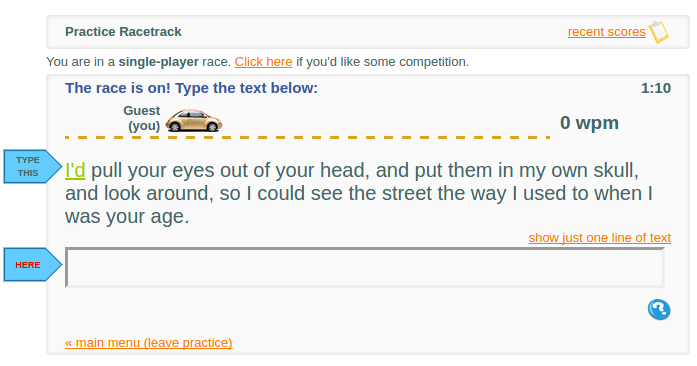 race car typing games