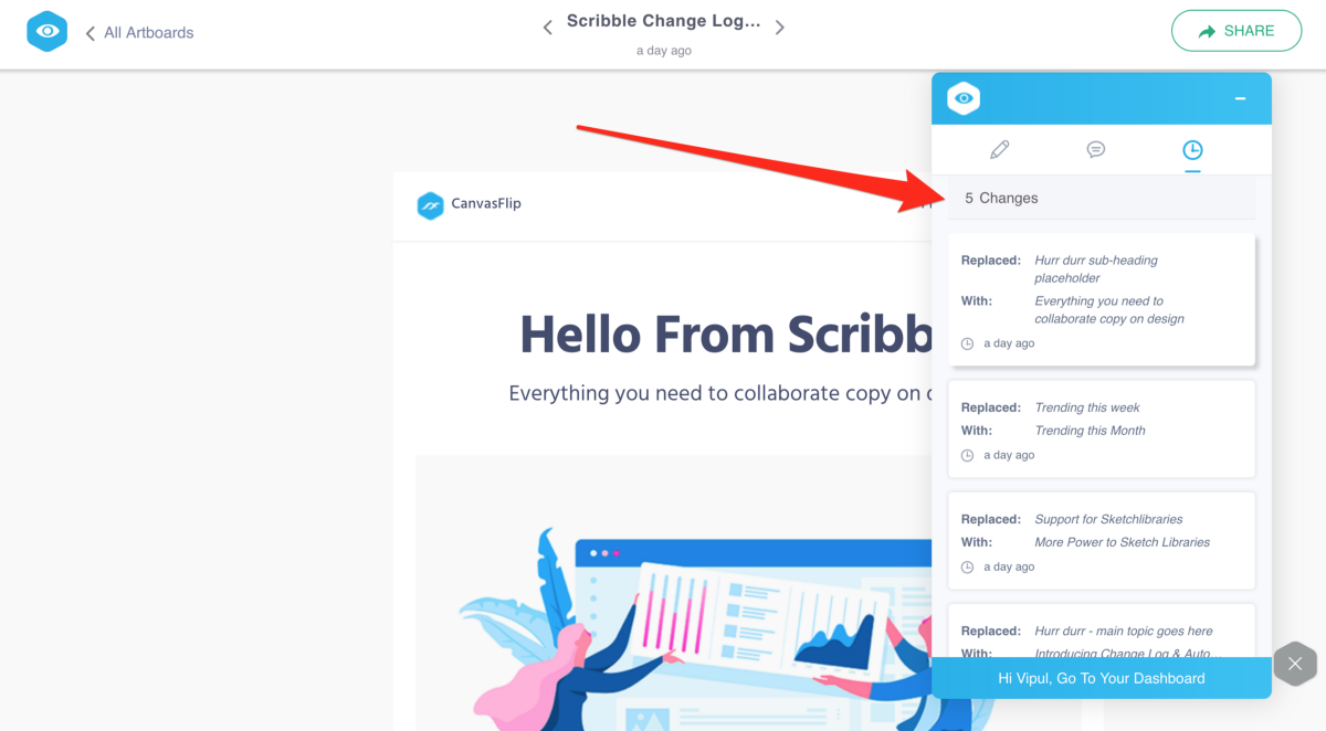 """Introducing """"Change Log"""" in Scribble — Save more time collaborating copy on design"""