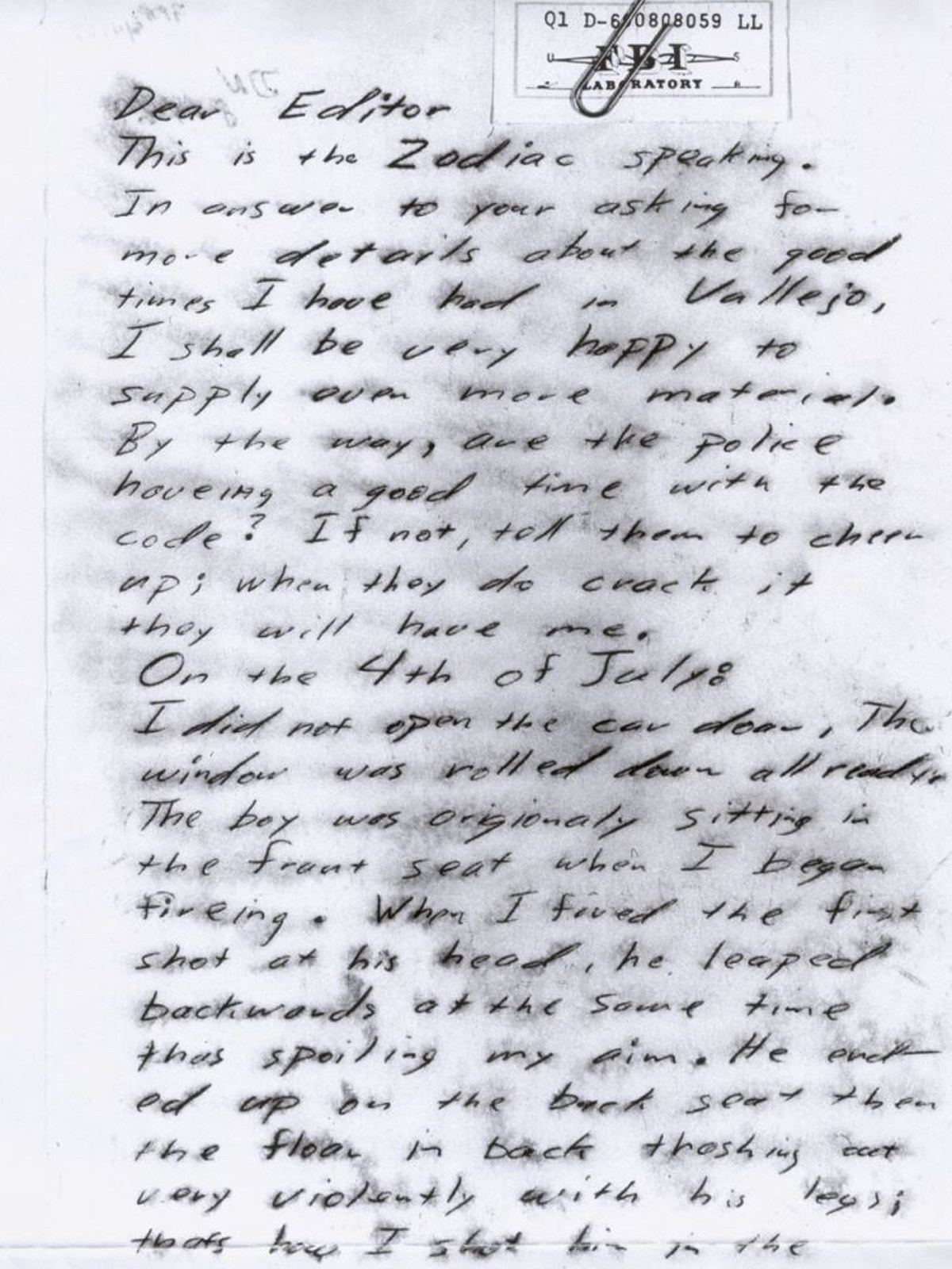 A second letter received tried to offer proof that the writer was the real killer