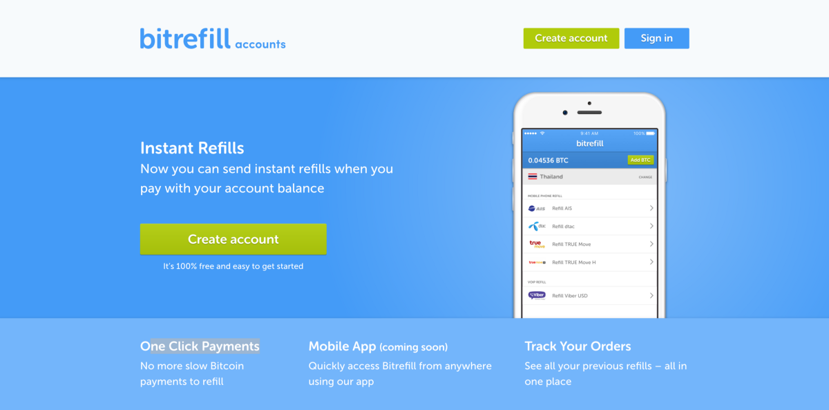 How to get instant one click refills with bitrefill accounts get started for free ccuart Images