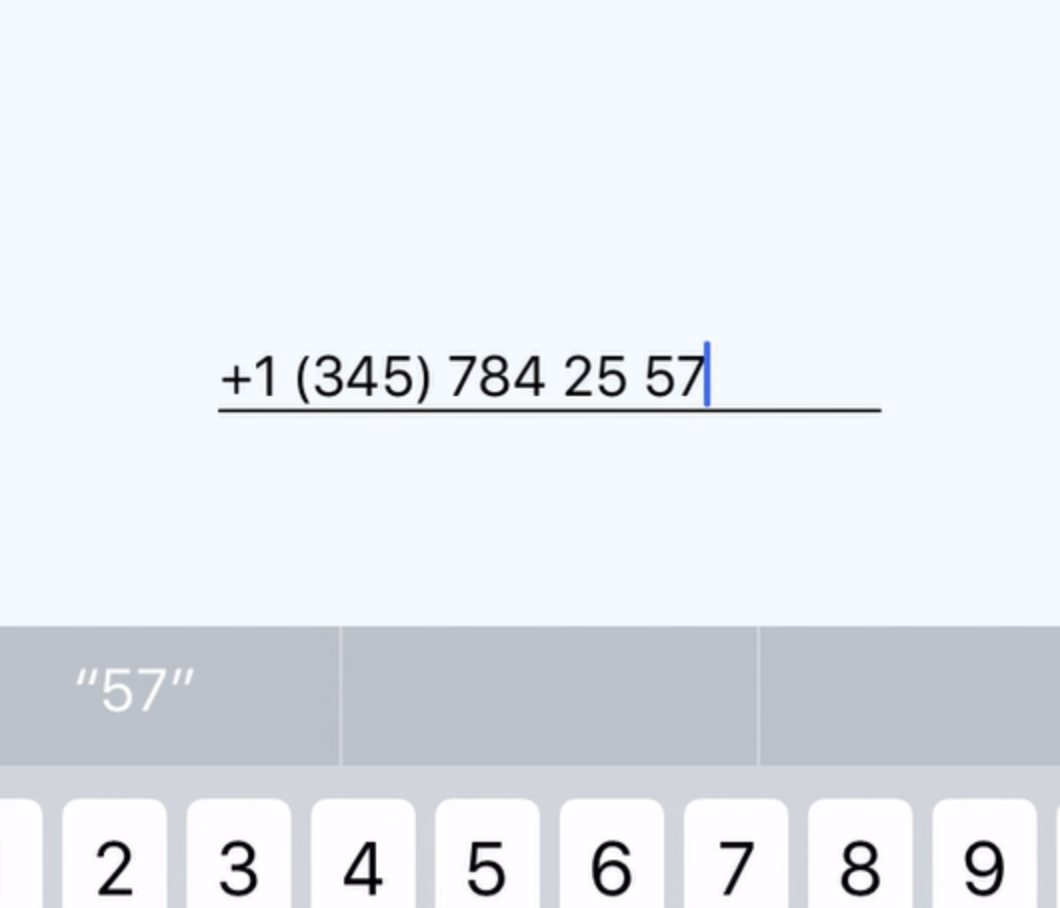 Inputting the phone number