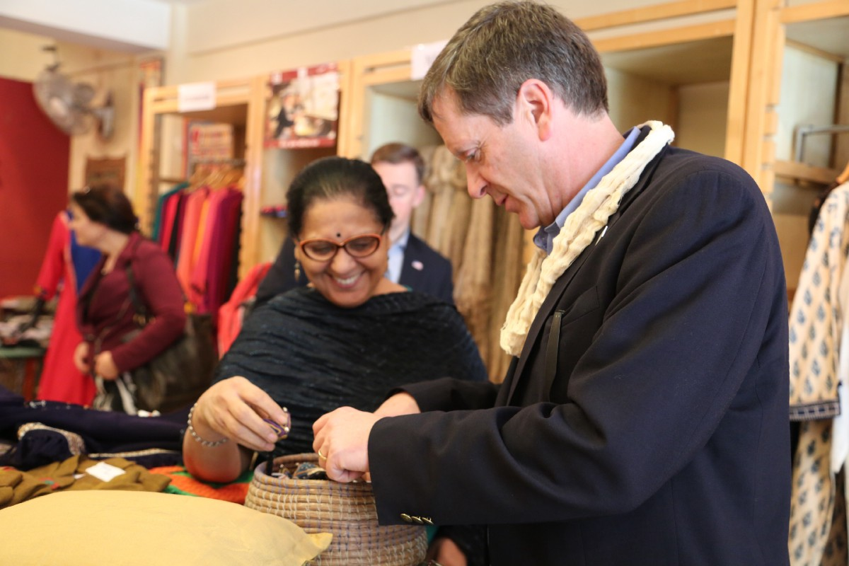 I met with a group of women from the Self-Employed Women's Association in Delhi. They are working to provide vocational training to disadvantaged women across the country and with USAID, they're helping train more than 3,000 low-income women in Afghanistan. / Photo courtesy of the U.S. Embassy in India