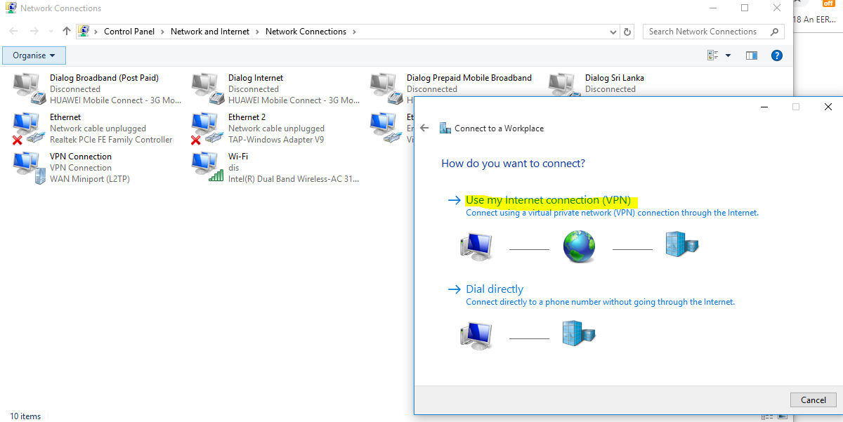 Choose vpn connection as new network connection - Windows